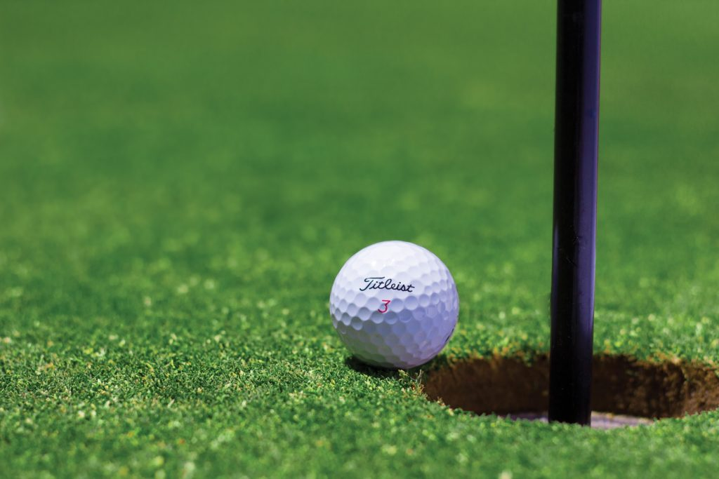 close up shot of a golf ball
