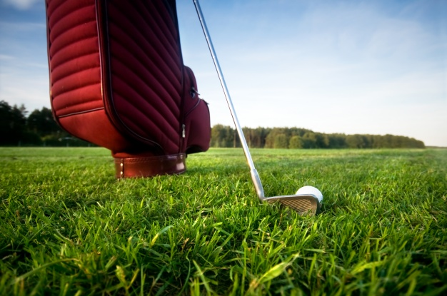red bag with golf ball