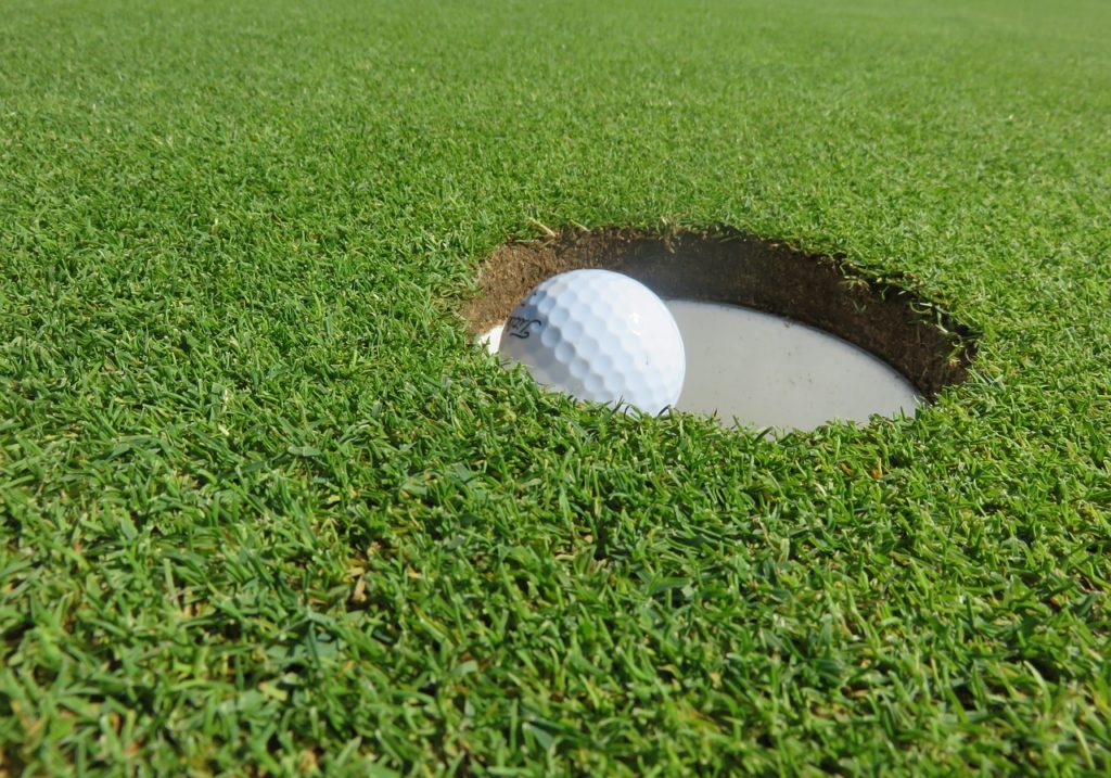 golf ball placed on a hole in the grass